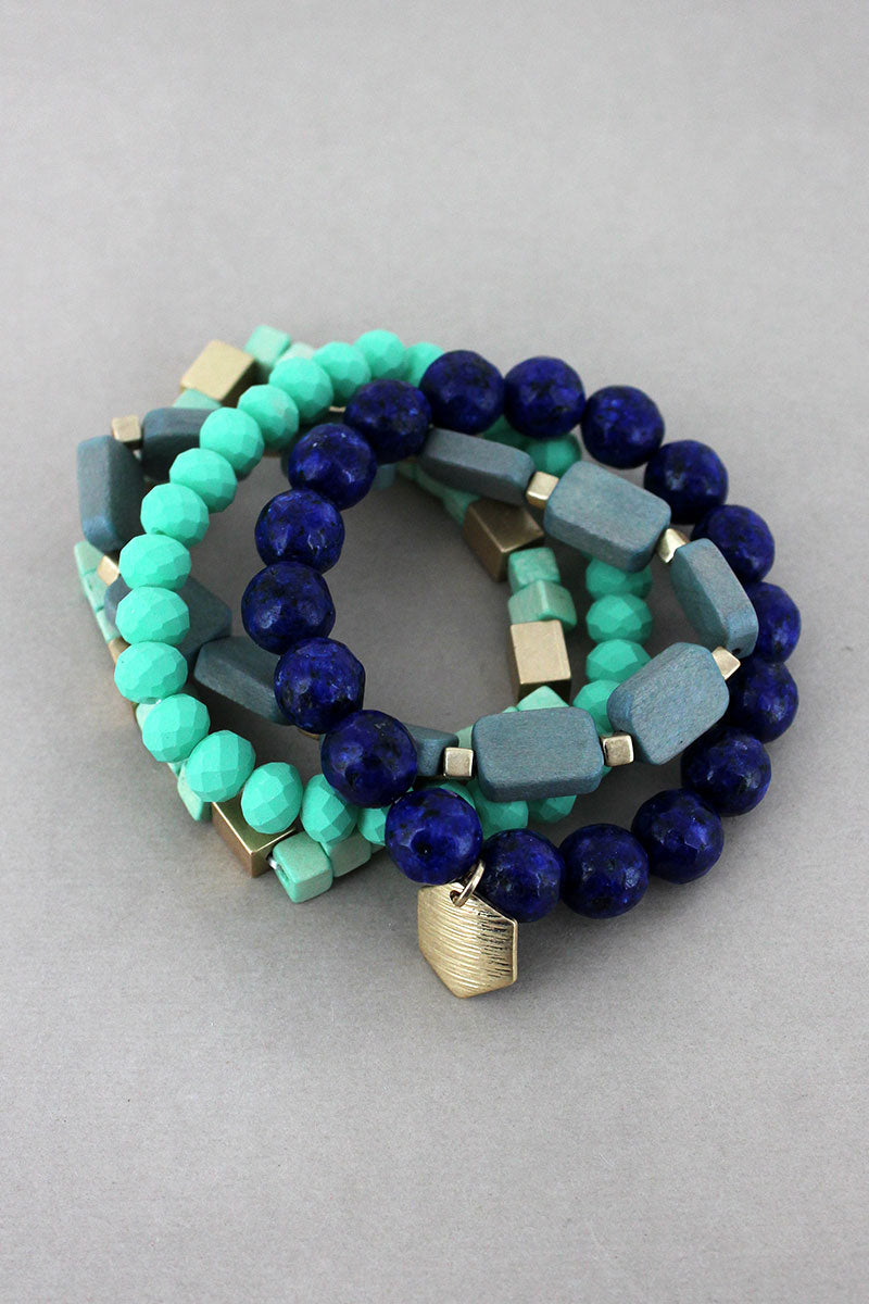 Hexagon Charm Mint Multi-Color Geo Bead Bracelet Set
