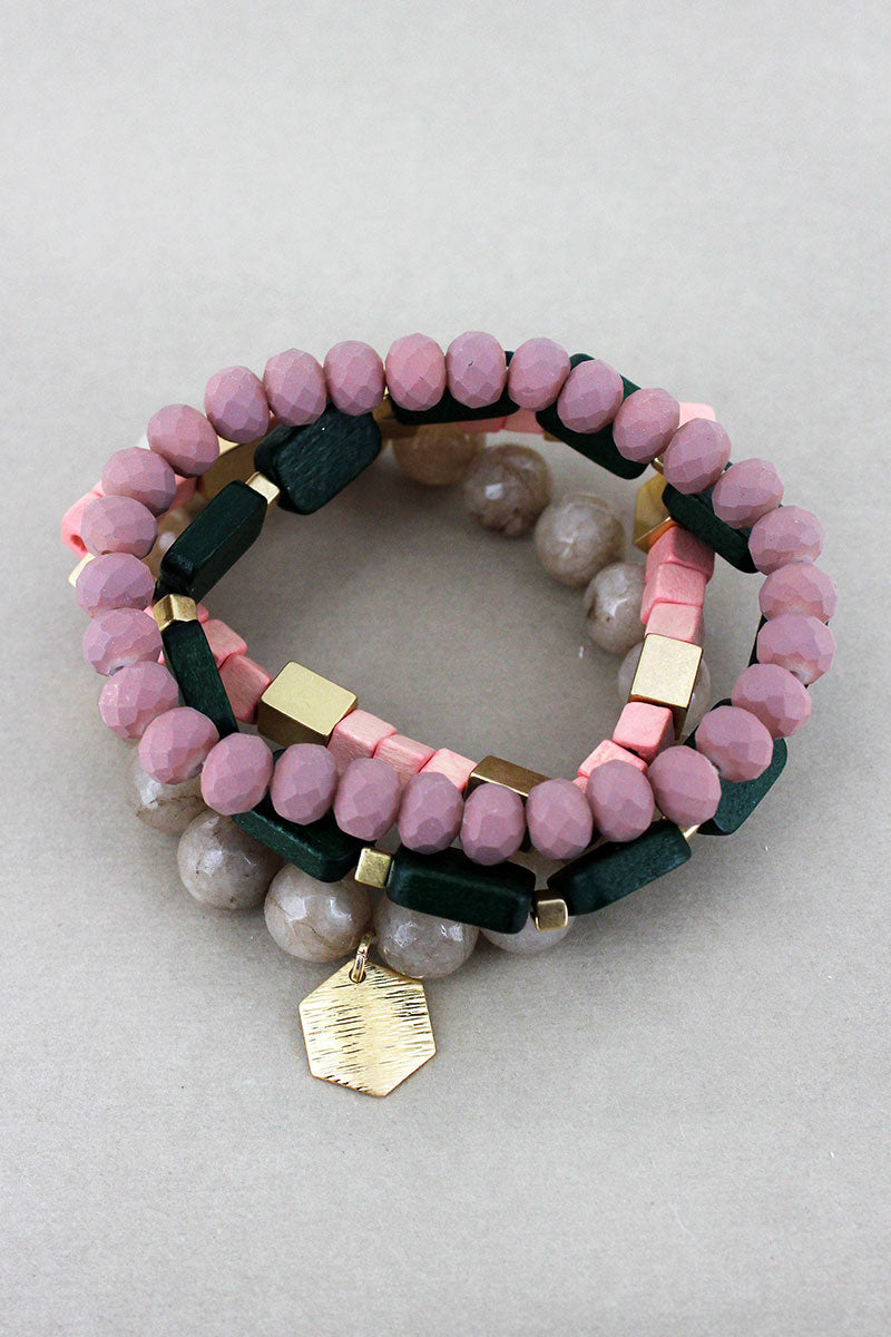 Hexagon Charm Pink Multi-Color Geo Bead Bracelet Set