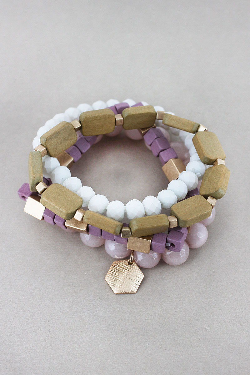 Hexagon Charm Purple Multi-Color Geo Bead Bracelet Set