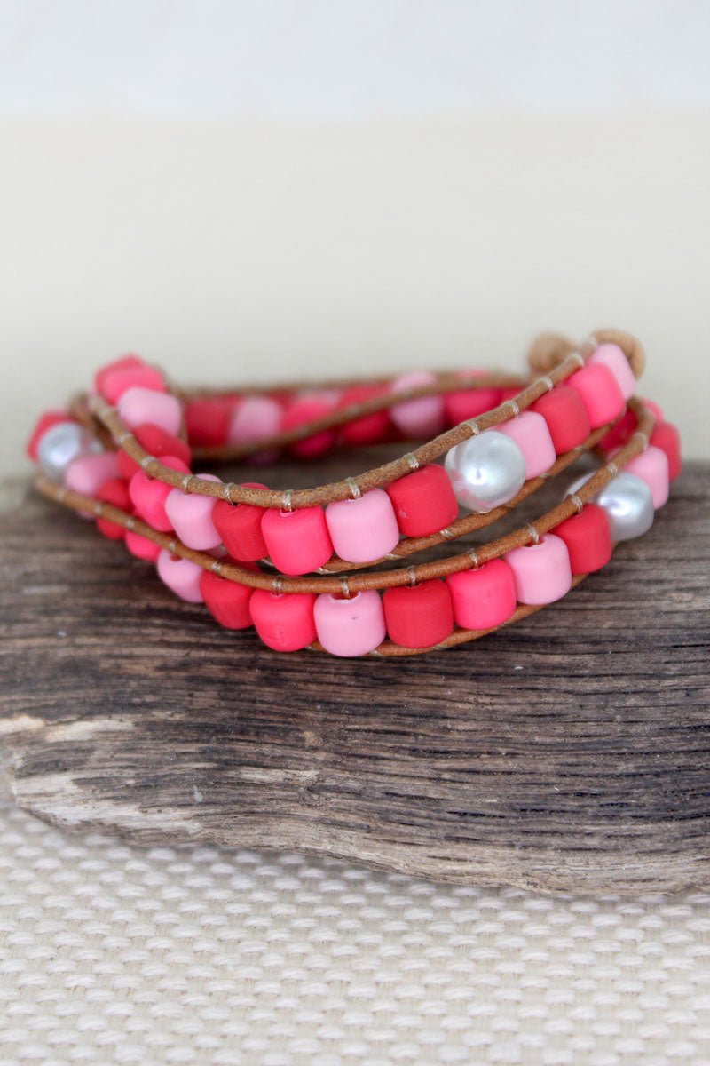 Pink Multi-Color Clay and Pearl Beaded Wrap Toggle Bracelet