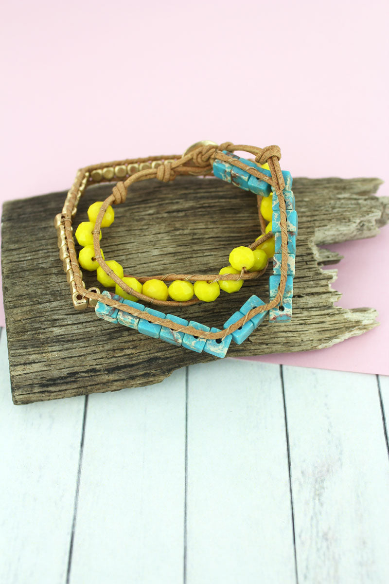 Turquoise Stone Cube and Faceted Bead Wrap Toggle Bracelet