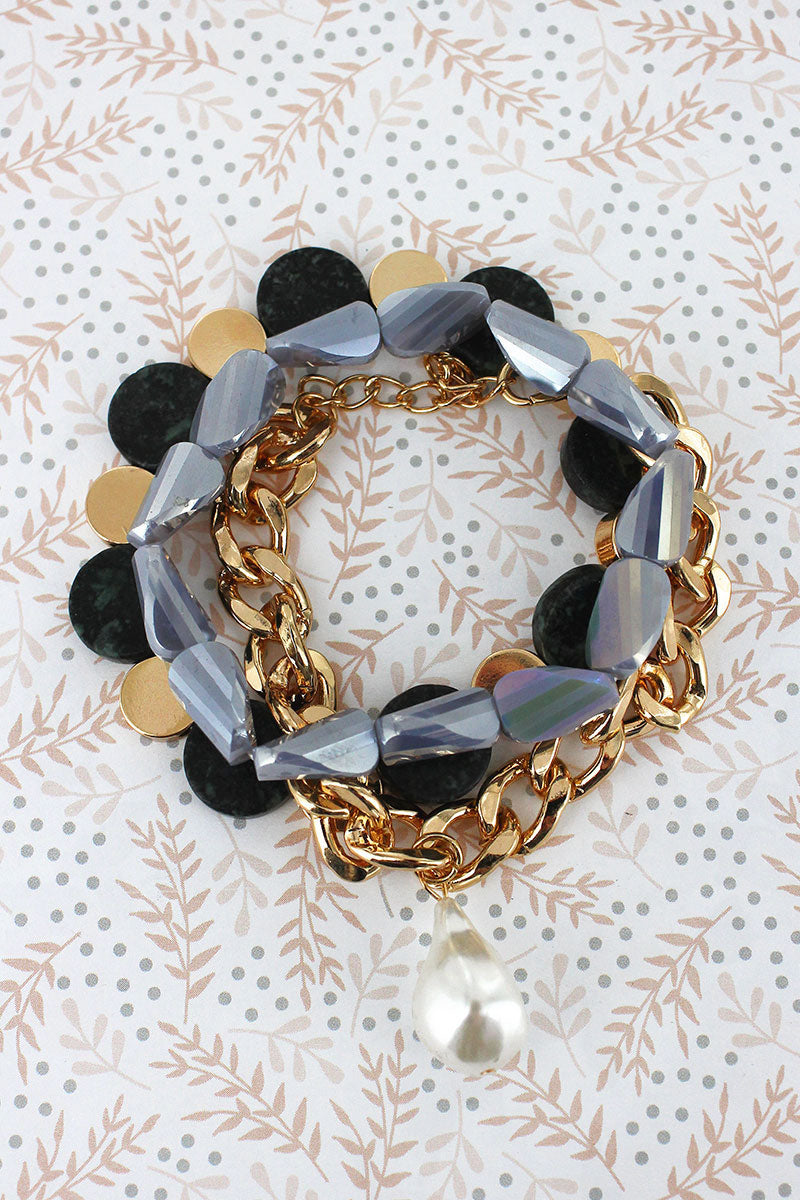 Pearl Charm Goldtone Chain and Black Mixed Bead Bracelet Set
