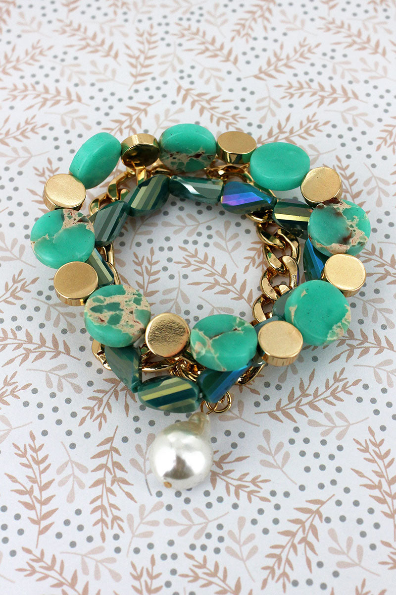 Pearl Charm Goldtone Chain and Green Mixed Bead Bracelet Set