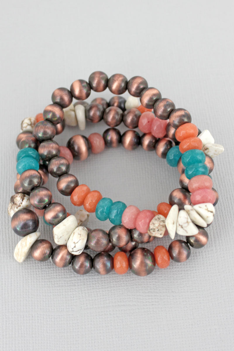 Copper Navajo Pearl, Stone, and White Chip Bead Bracelet Set