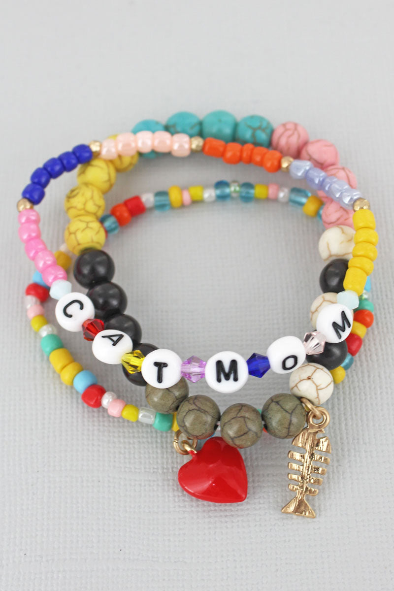 Tiled Letter 'Cat Mom' Fish Charm Beaded Bracelet Set