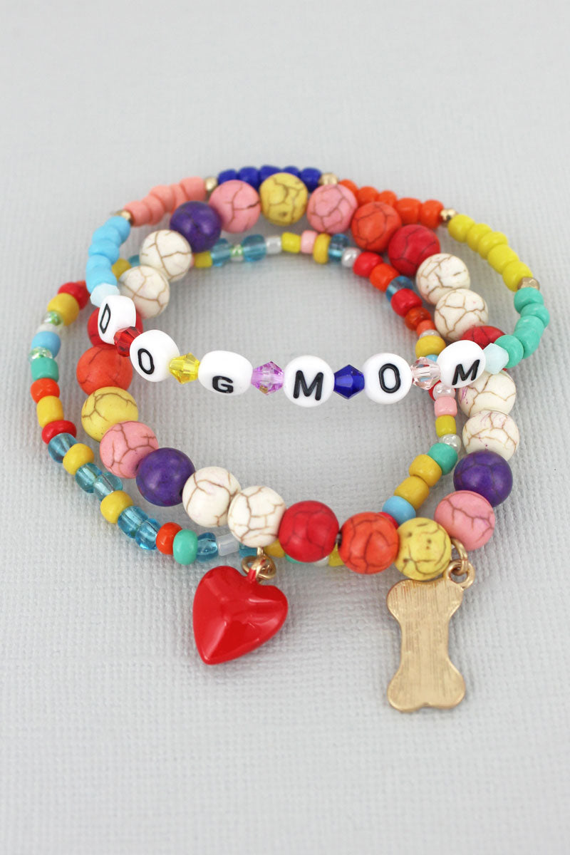 Tiled Letter 'Dog Mom' Bone Charm Beaded Bracelet Set