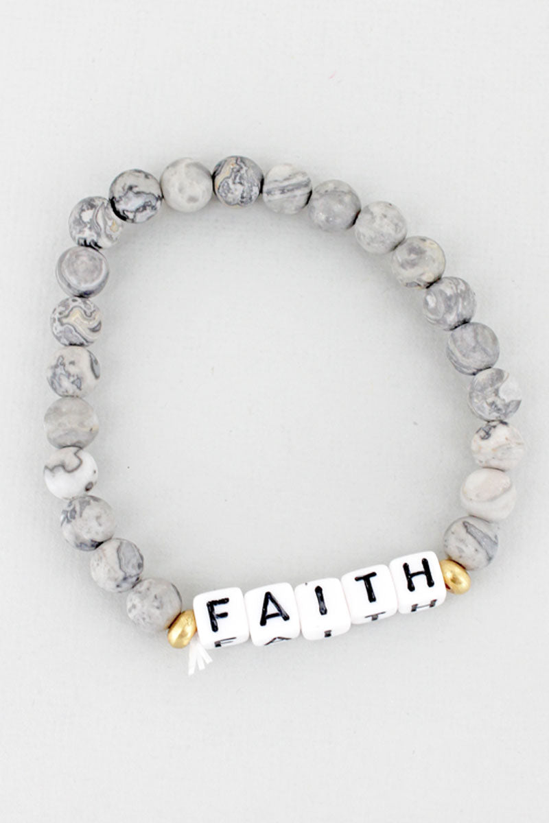White Block Letter 'Faith' Gray Jasper Stone Bracelet