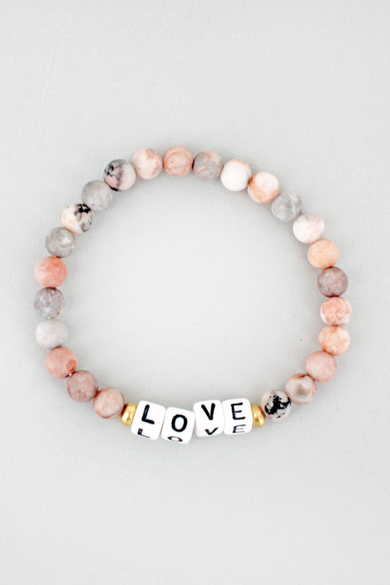 White Block Letter 'Love' Rhodonite Stone Bracelet