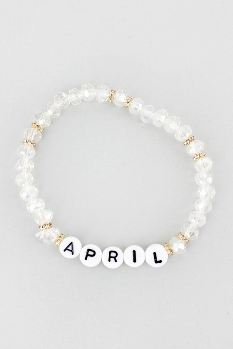 Tiled Letter 'April' Diamond Faceted Bead Bracelet