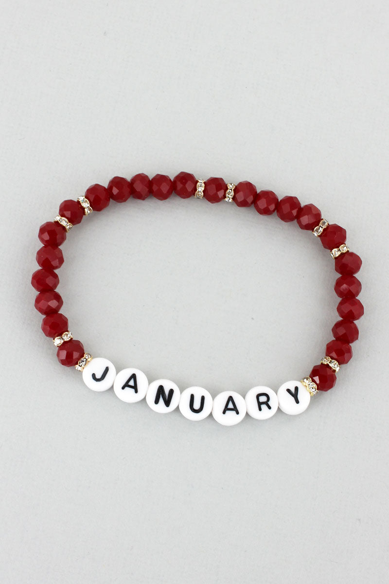 Tiled Letter 'January' Garnet Faceted Bead Bracelet