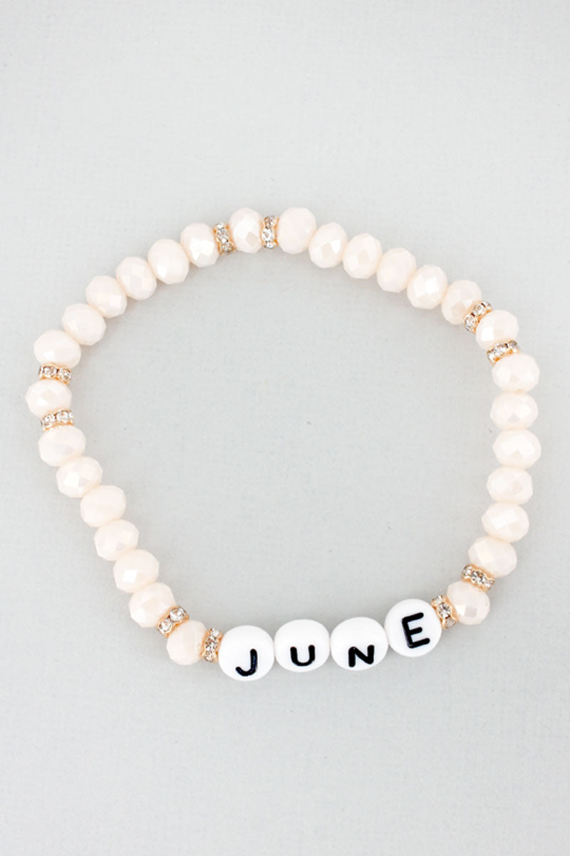Tiled Letter 'June' Pearl Faceted Bead Bracelet