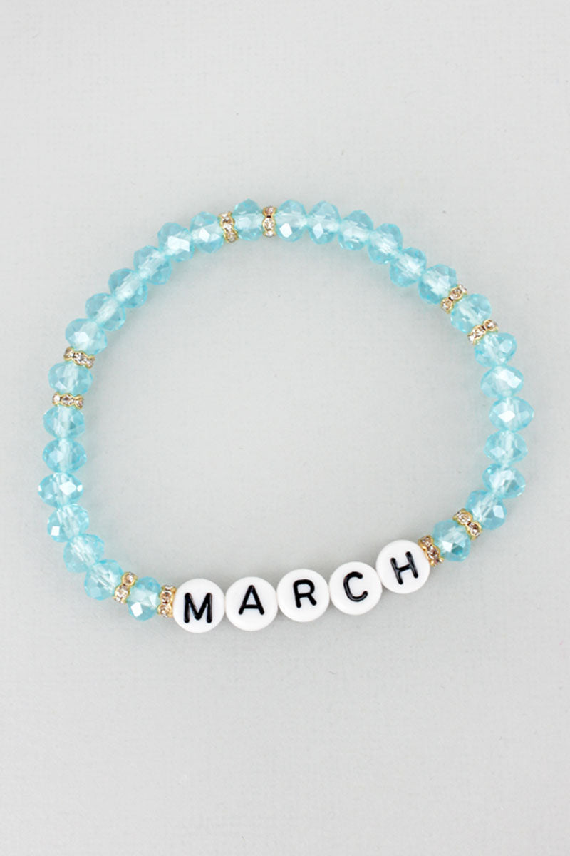 Tiled Letter 'March' Aquamarine Faceted Bead Bracelet
