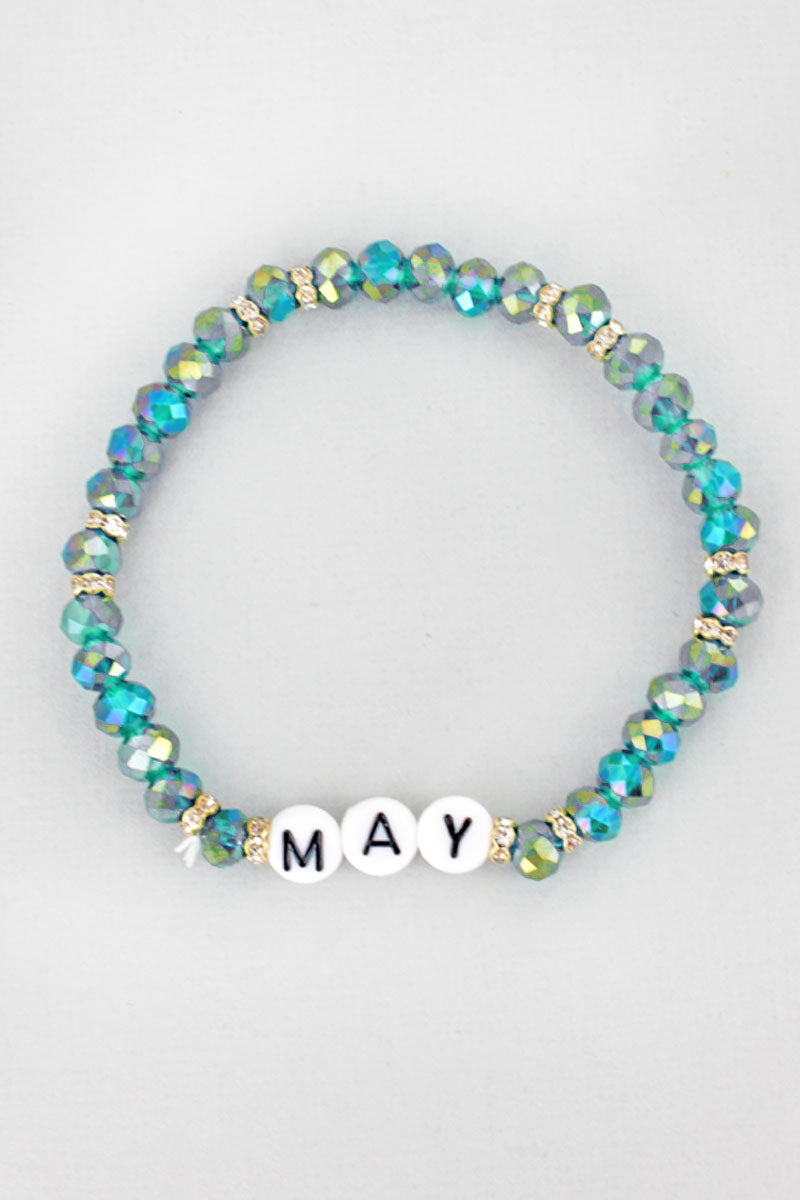 Tiled Letter 'May' Emerald Faceted Bead Bracelet