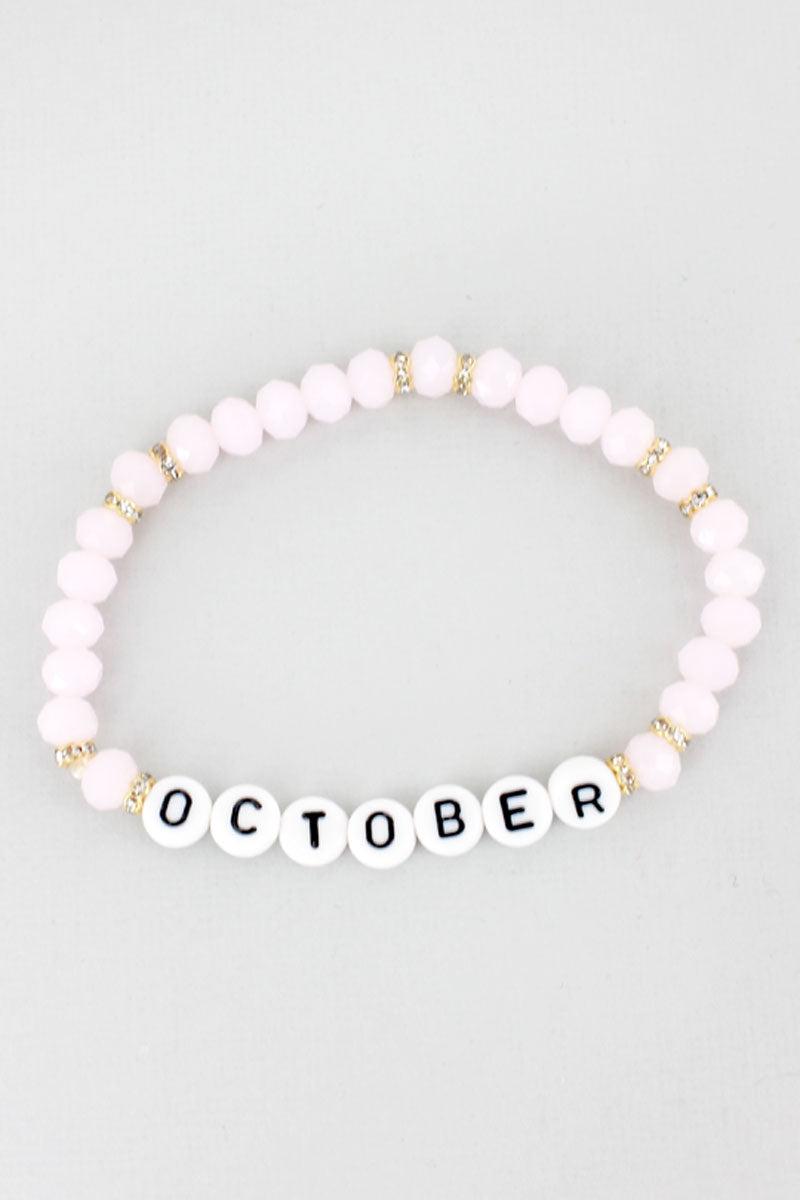 Tiled Letter 'October' Pink Tourmaline Faceted Bead Bracelet