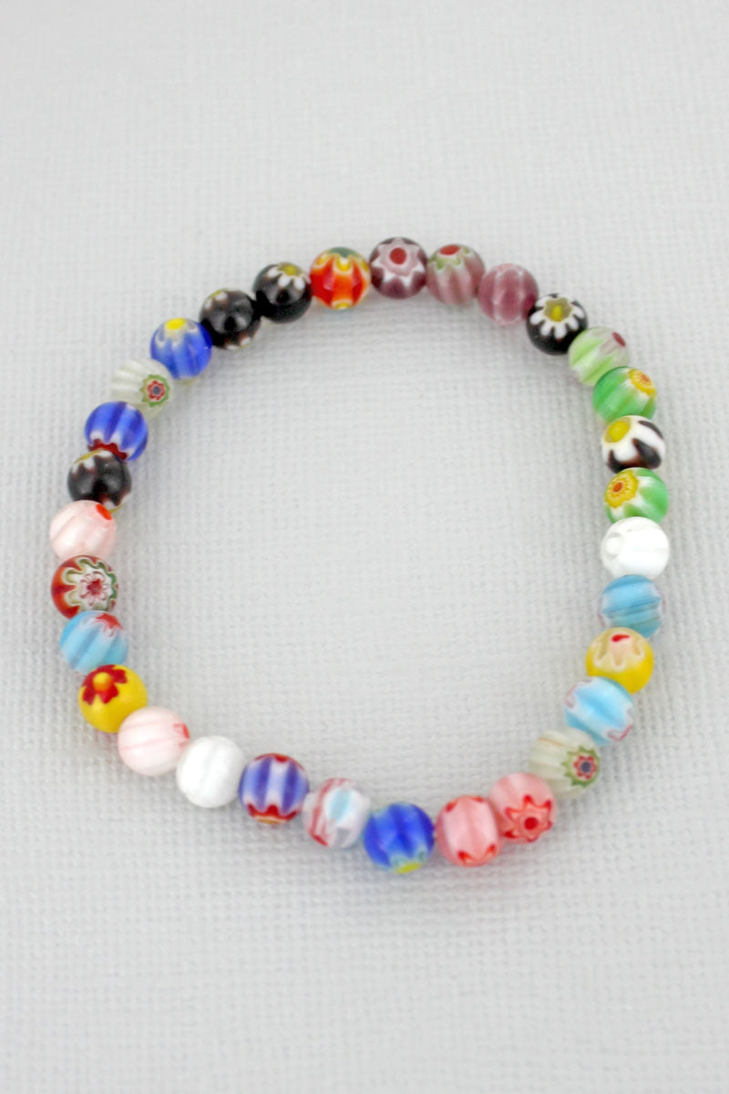 Flower Glass Bead Stretch Bracelet