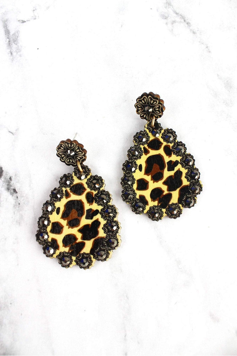 Leopard Print Teardrop Earrings with Black Stones