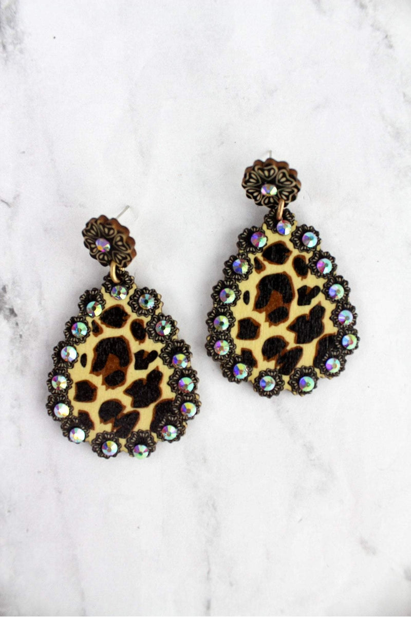 Leopard Print Teardrop Earrings with Iridescent Stones