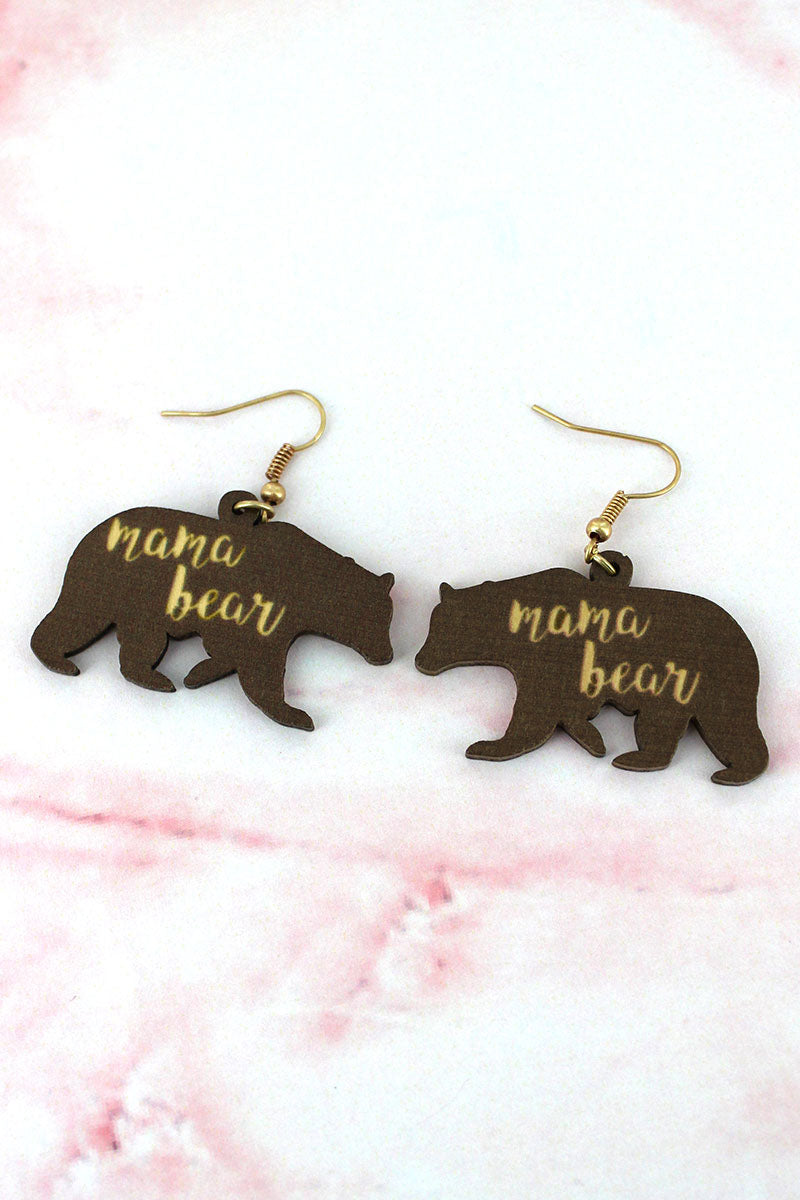 Brown Wood 'Mama Bear' Earrings