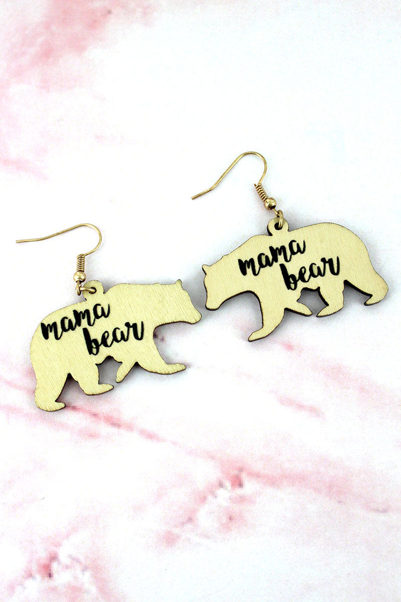Ivory Wood 'Mama Bear' Earrings