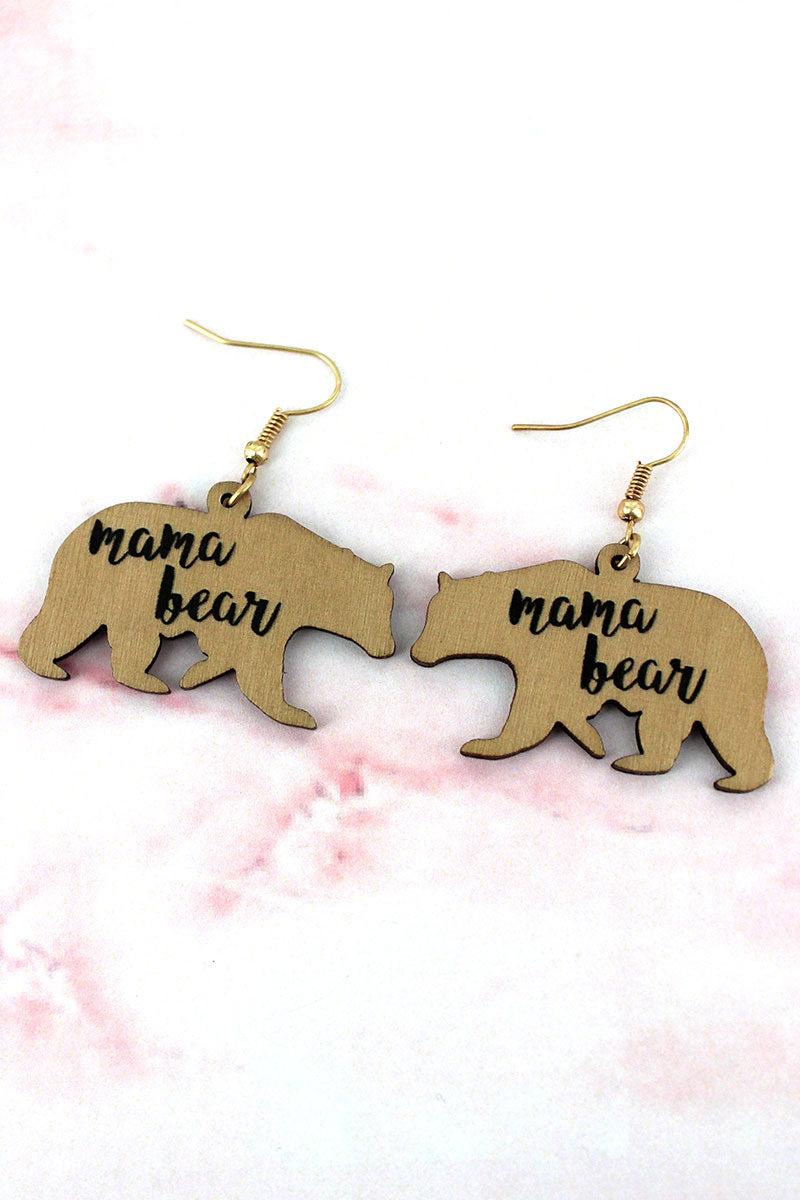 Light Brown Wood 'Mama Bear' Earrings