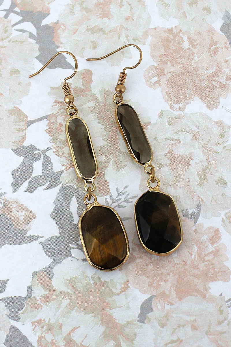Tiger Eye Faceted Stone and Crystal Dangle Earrings