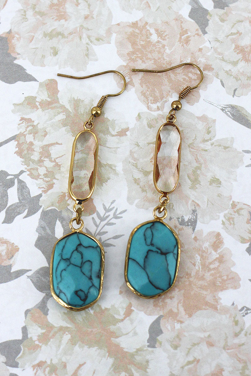 Turquoise Faceted Stone and Crystal Dangle Earrings