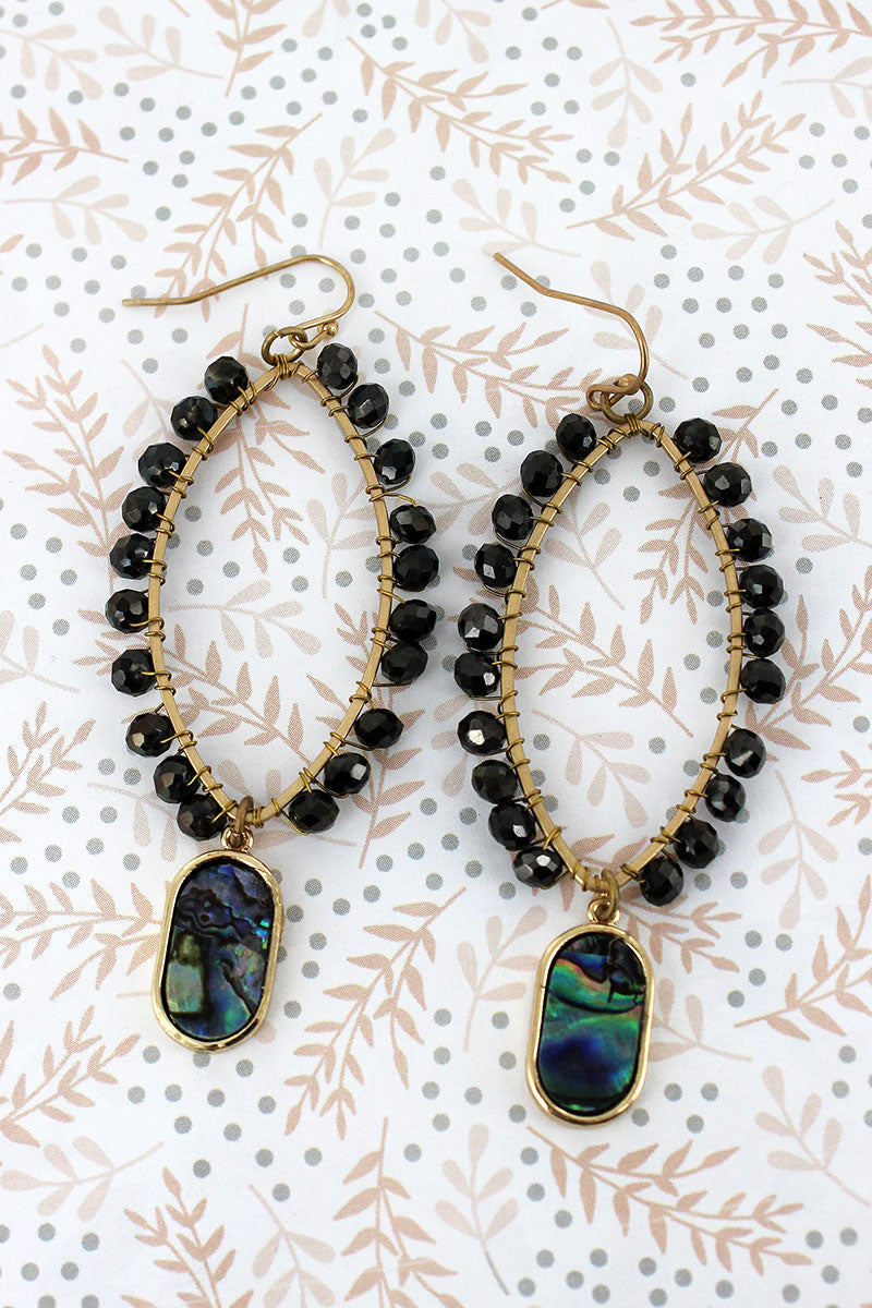 Black Glass Beaded Marquise with Abalone Charm Earrings