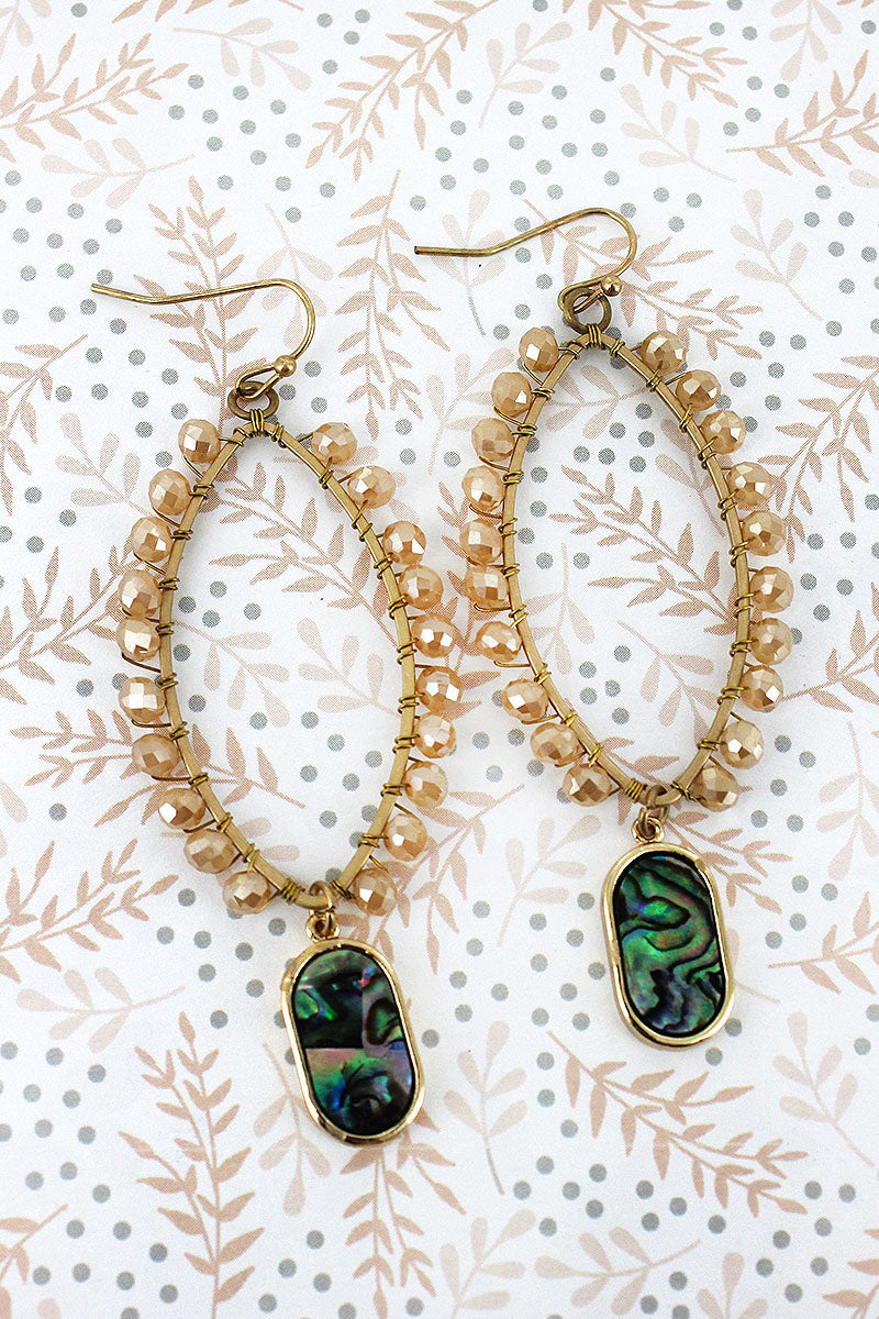 Cream Glass Beaded Marquise with Abalone Charm Earrings
