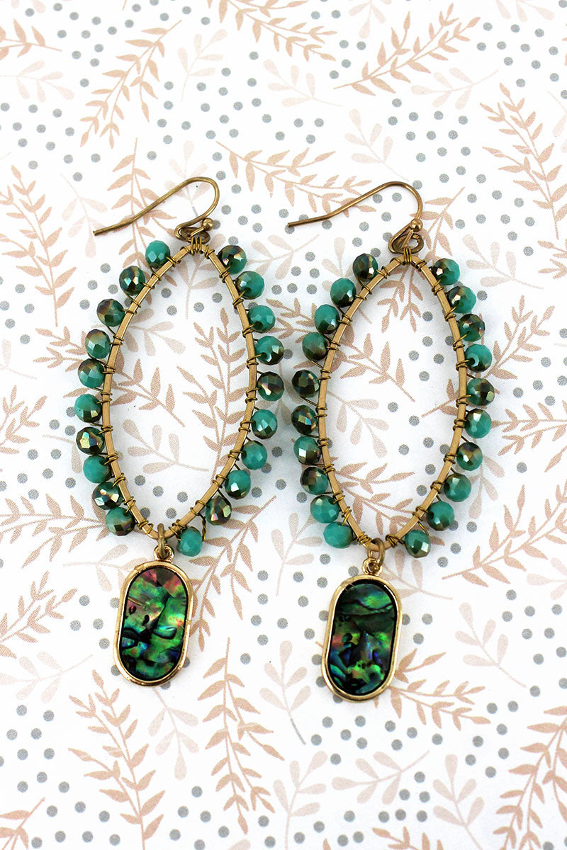 Turquoise Glass Beaded Marquise with Abalone Charm Earrings