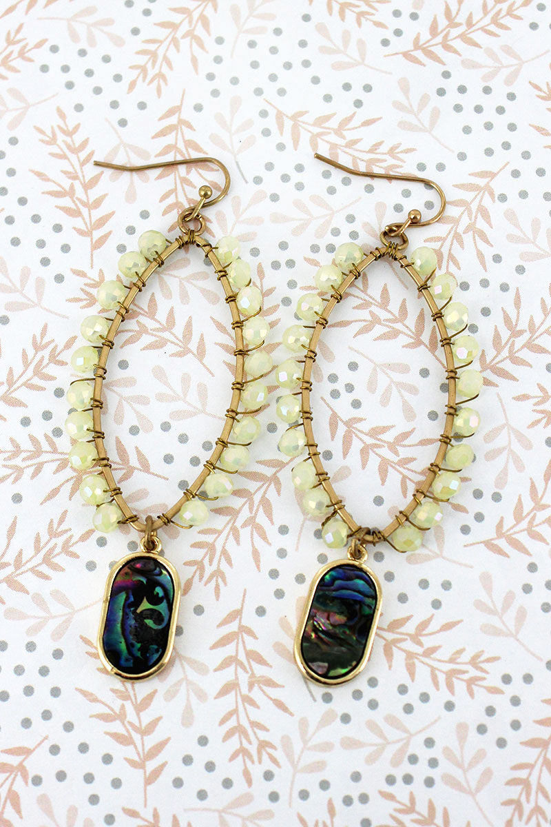 White Glass Beaded Marquise with Abalone Charm Earrings
