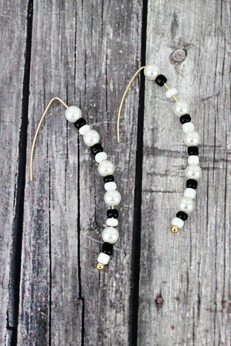 Black and White Seed Bead and Pearl Threader Earrings