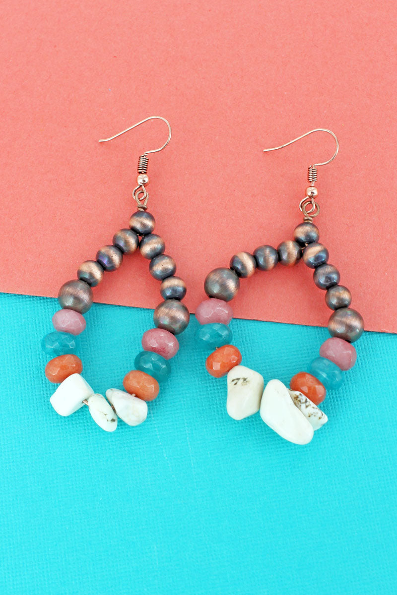 White Chip Bead, Stone, and Copper Navajo Pearl Teardrop Earrings