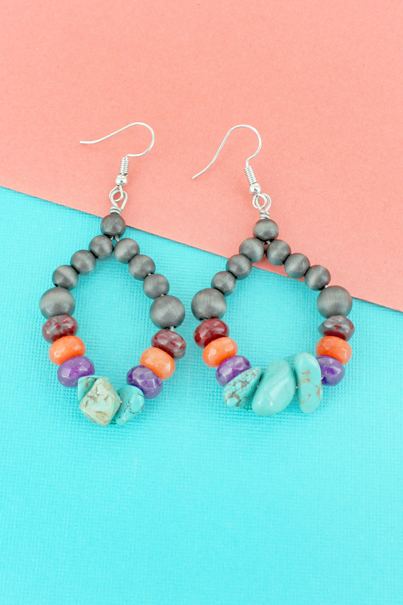 Turquoise Chip Bead, Stone, and Silver Navajo Pearl Teardrop Earrings