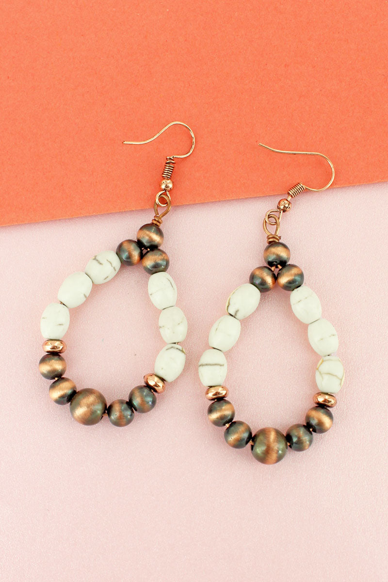 White Oval Stone and Copper Navajo Pearl Teardrop Earrings