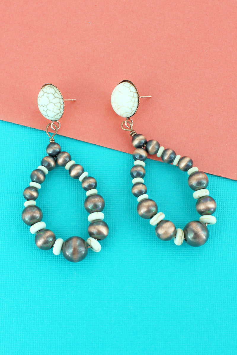 White Stone Disk and Copper Navajo Pearl Teardrop Earrings