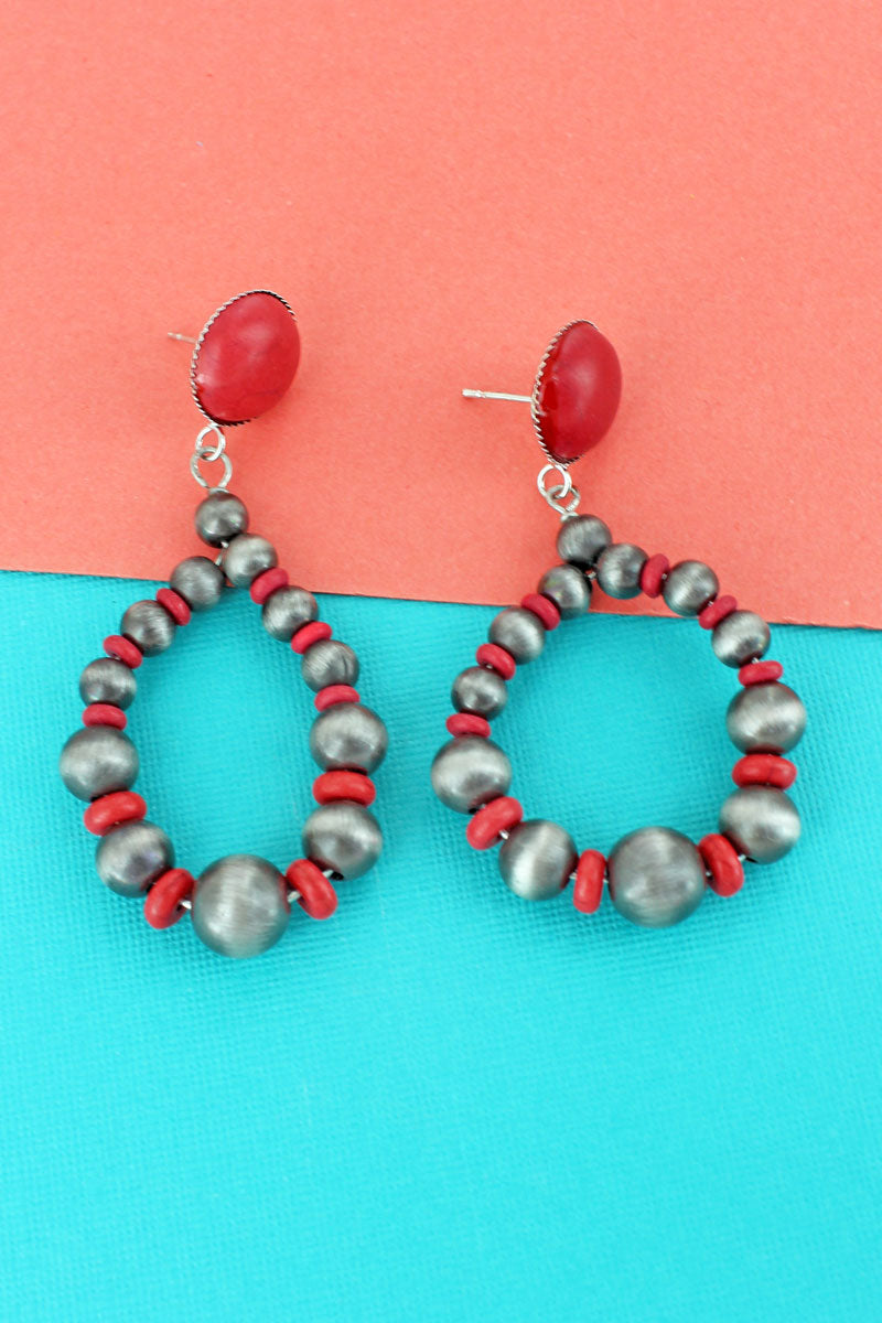 Red Stone Disk and Silver Navajo Pearl Teardrop Earrings