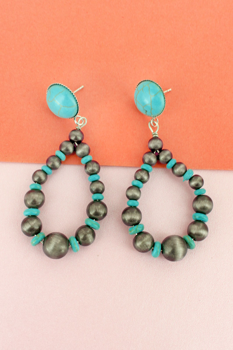 Turquoise Stone Disk and Silver Navajo Pearl Teardrop Earrings