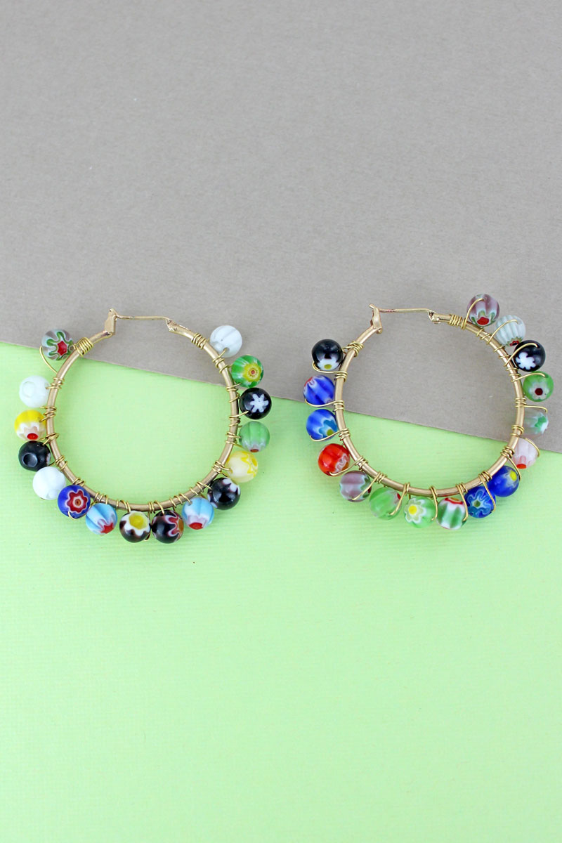 Flower Glass Bead Goldtone Hoop Earrings