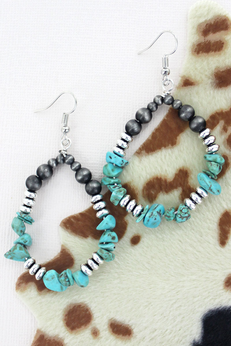 Boulder Falls Turquoise and Silver Pearl Earrings