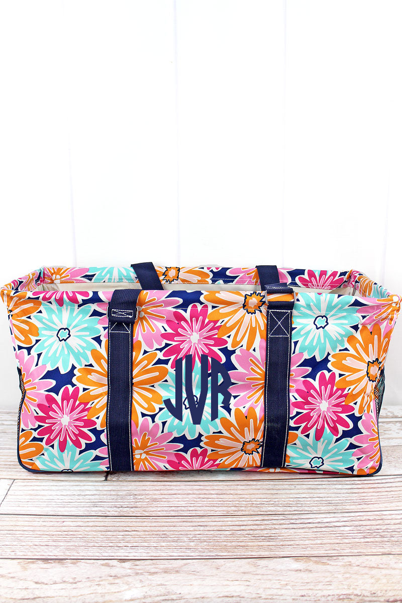 NGIL Vibrant Flowers Collapsible Haul-It-All Basket with Mesh Pockets