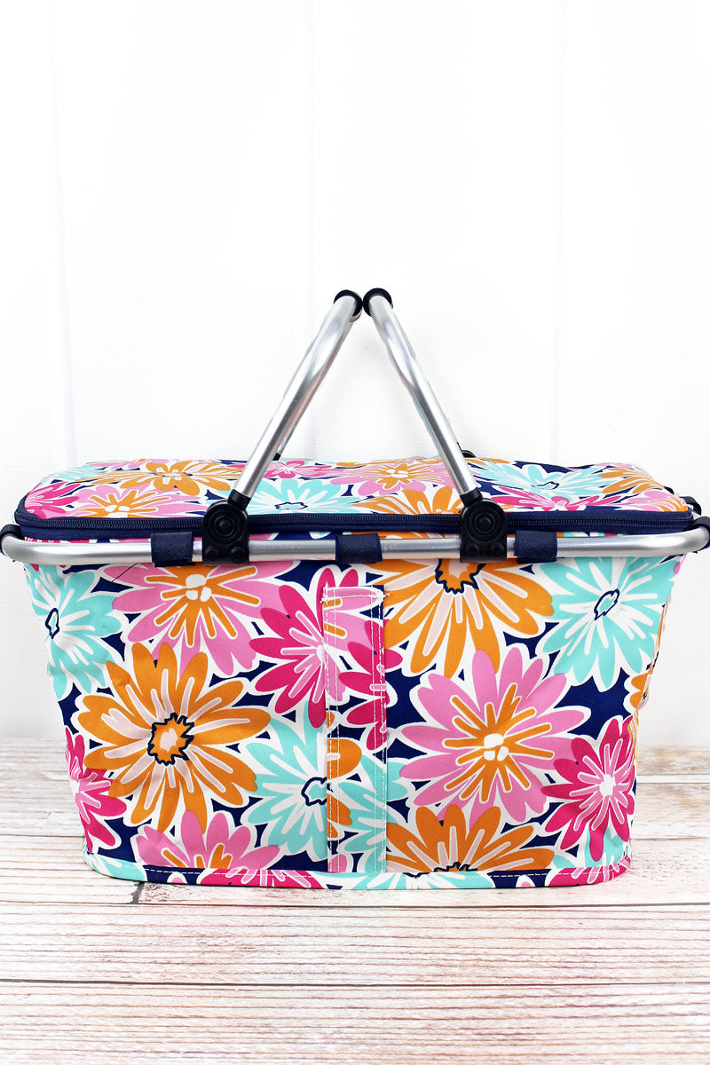 NGIL Vibrant Flowers Collapsible Insulated Market Basket with Lid