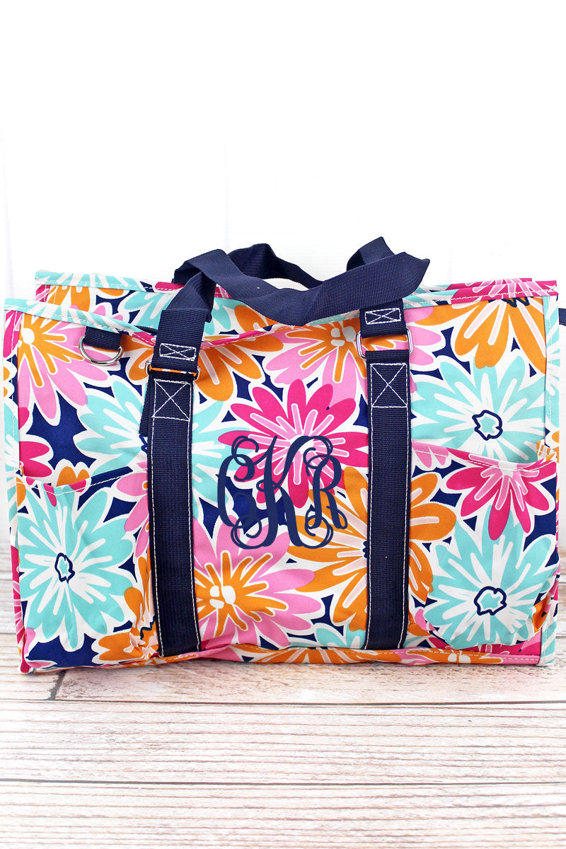 NGIL Vibrant Flowers Utility Tote with Navy Trim