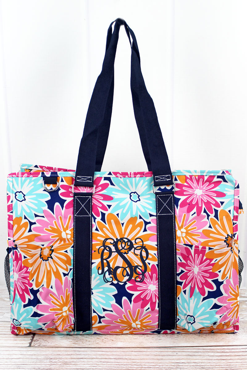 NGIL Vibrant Flowers with Navy Trim Large Organizer Tote