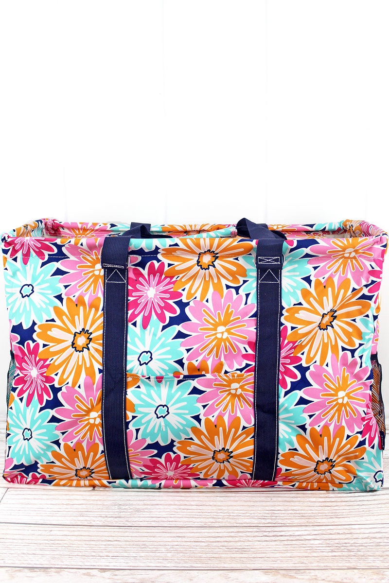 NGIL Vibrant Flowers Collapsible Double Haul-It-All Basket with Mesh Pockets and Lid