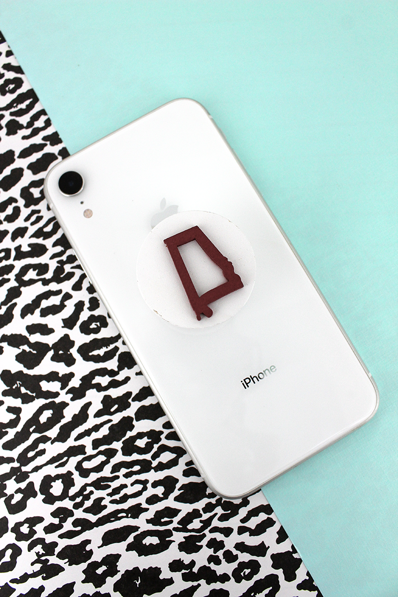 Crimson and White Alabama Outline Phone Grip & Stand