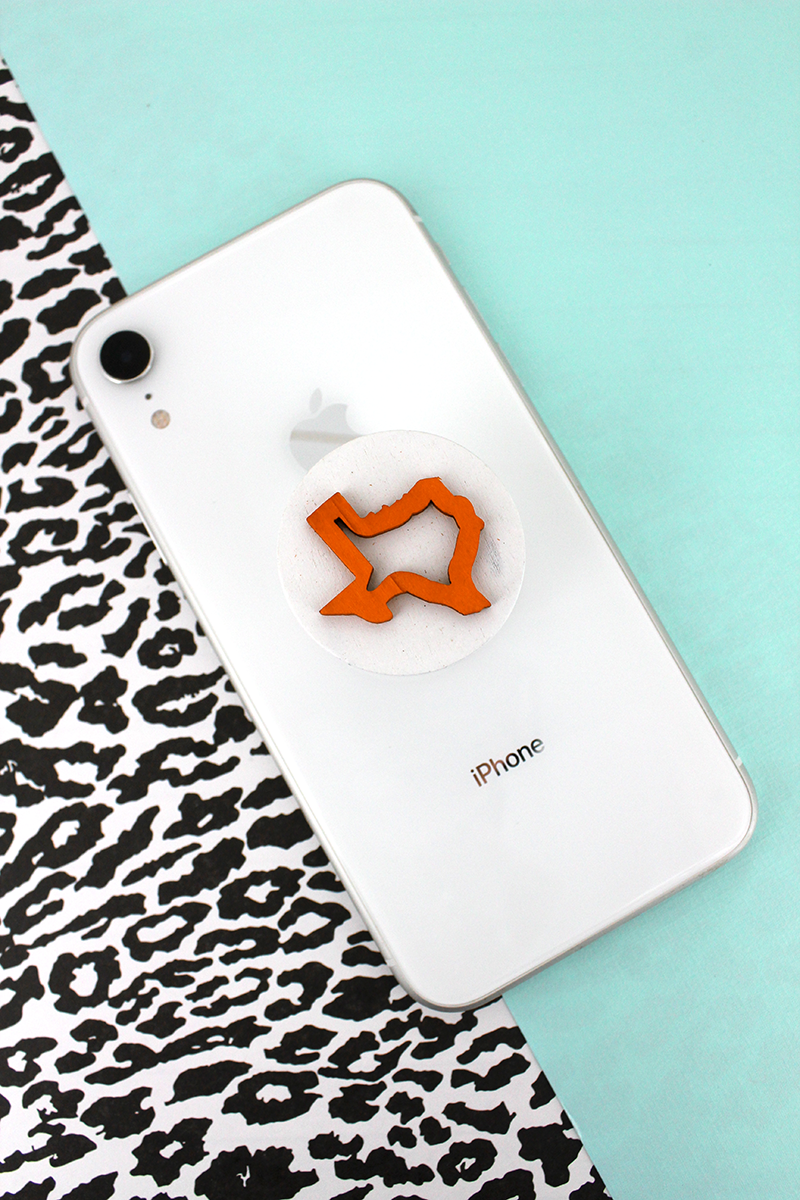 Orange and White Texas Outline Phone Grip & Stand