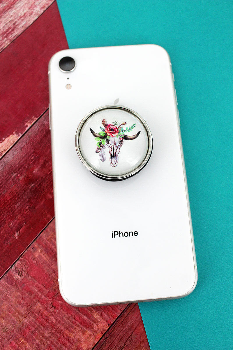 Floral Steer Skull Bubble Phone Grip & Stand