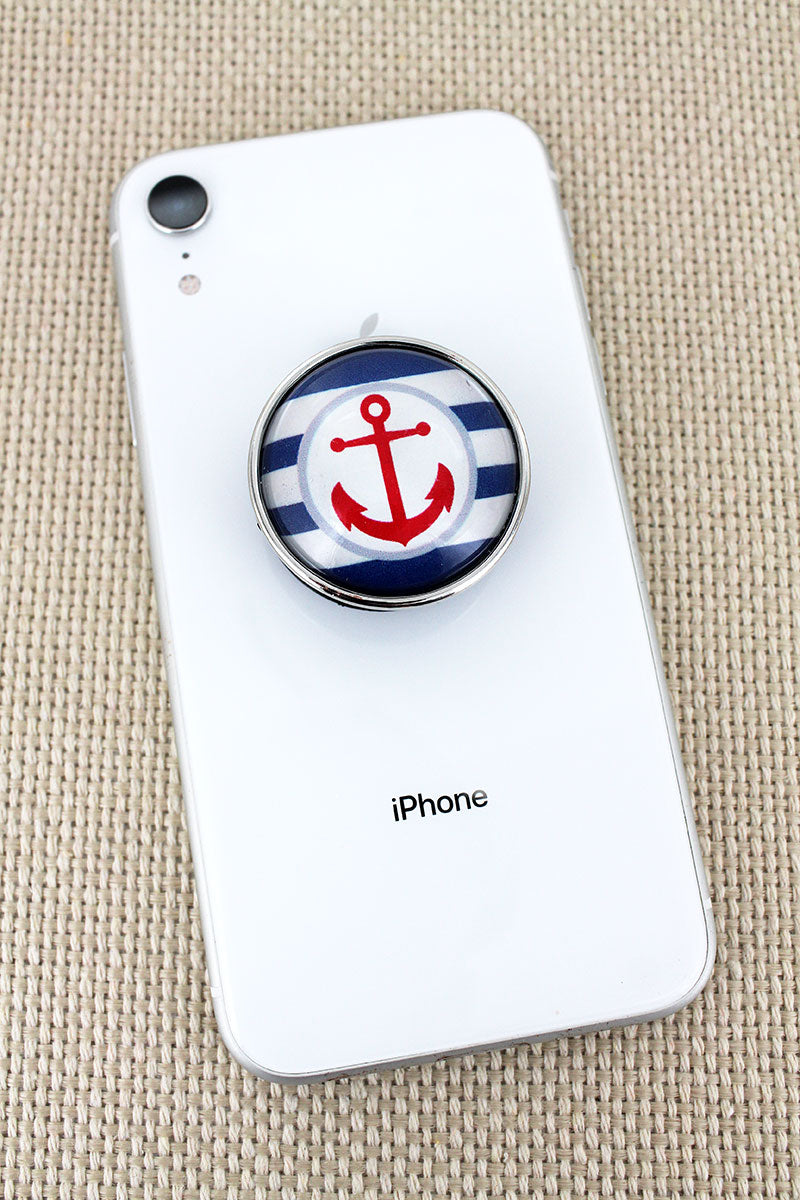 Nautical Striped Anchor Bubble Phone Grip & Stand
