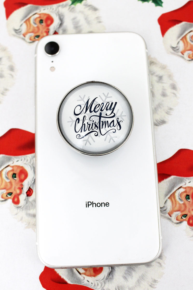 Merry Christmas Snowflake Bubble Phone Grip & Stand