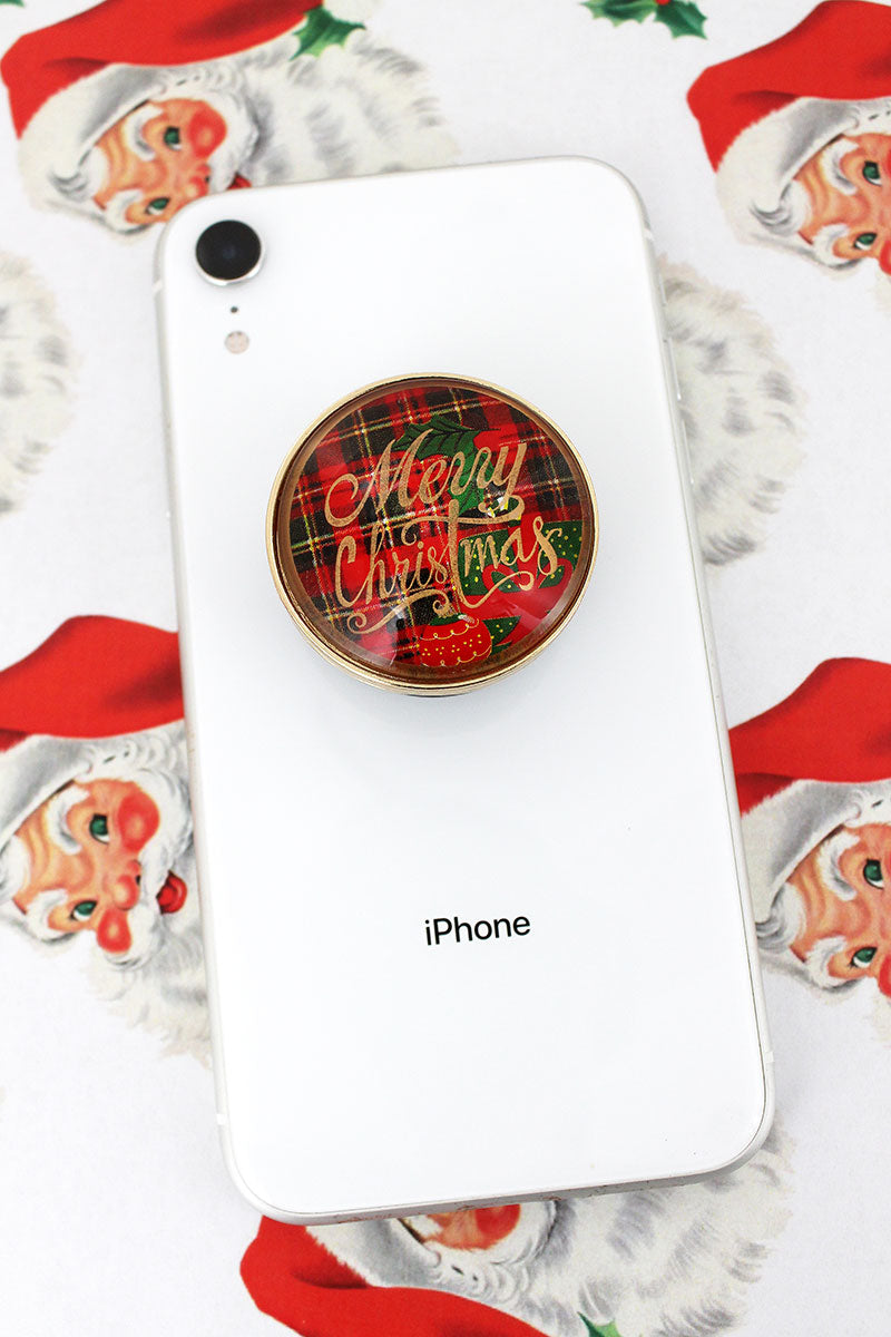 Merry Christmas Red Plaid Bubble Phone Grip & Stand
